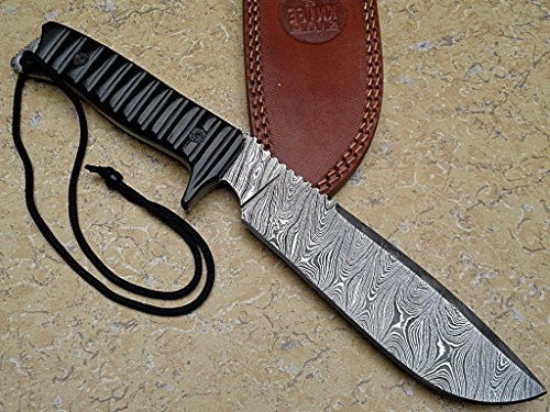 "Knife King ""Predator-2"" damascus hunting bowie knife. Micarta handle.Razor sharp. Solid quality hunter.Comes with a sheath."