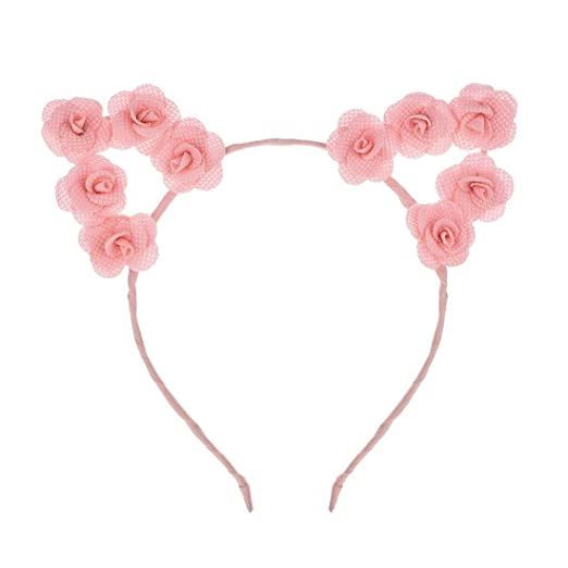 7977839c25 Vividsun Flower Cat Ear Headband Women Girl Hair Accessories for Costume  Party (Pink)