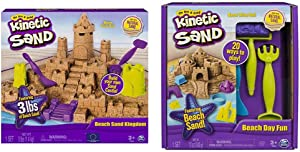 Kinetic Sand Beach Sand Kingdom Playset with 3lbs of Beach Sand, for Ages 3 and Up & Beach Day Fun Playset with Castle Molds, Tools, and 12 oz. of Kinetic Sand for Ages 3 and Up