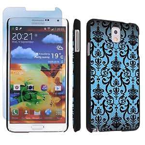Samsung Galaxy Note 3 III Black Designer Hard Case + Screen Protector By SkinGuardz - Blue Vintage
