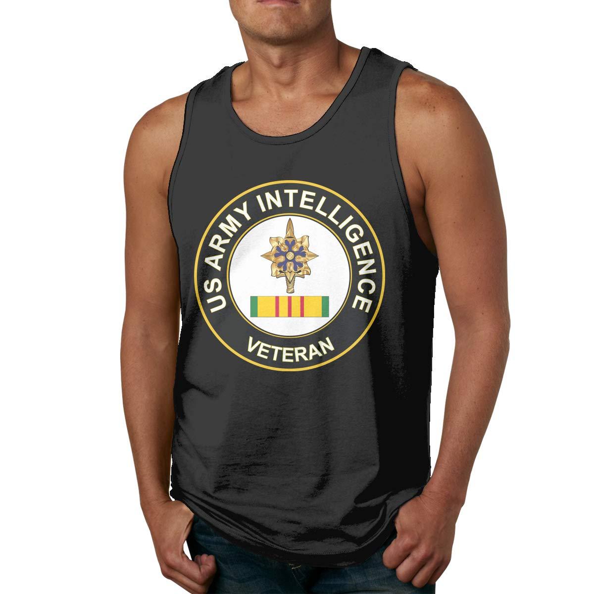 BGFYJN Army Intelligence Vietnam Veteran Mens Cotton Undershirts Crew Neck Tank Tops