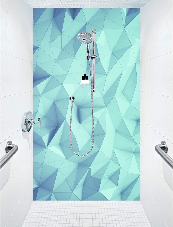 Mampara de ducha de aluminio compuesta como placa individual o juego de placas para ducha de esquina corte a medida – Diseño de cristal Poly Cyan: Amazon.es: Bricolaje y herramientas