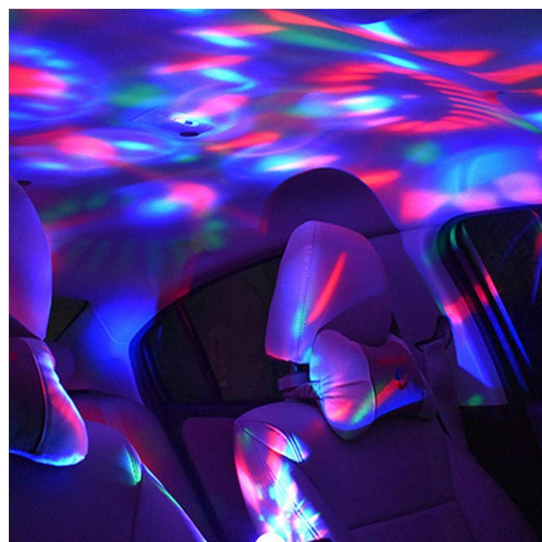 2pcs llev/ó la luz del coche de control de voz Mini USB inal/ámbrico kit de iluminaci/ón del interior del coche coche estilo interior luz de la decoraci/ón del ambiente LED en color de 7 Conexi/ón mini USB