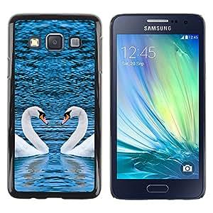 Stuss Case / Funda Carcasa protectora - PINTORESCO dos cisnes CORAZÓN - Samsung Galaxy A3