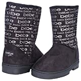 Bebe Girls Winter Boots with Metallic Bebe Logo, Black/Silver, Size 13'