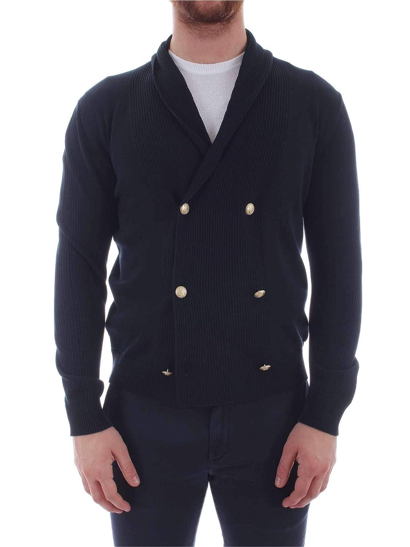GranSasso Mens 2318821454BLUE Blue Cotton Cardigan