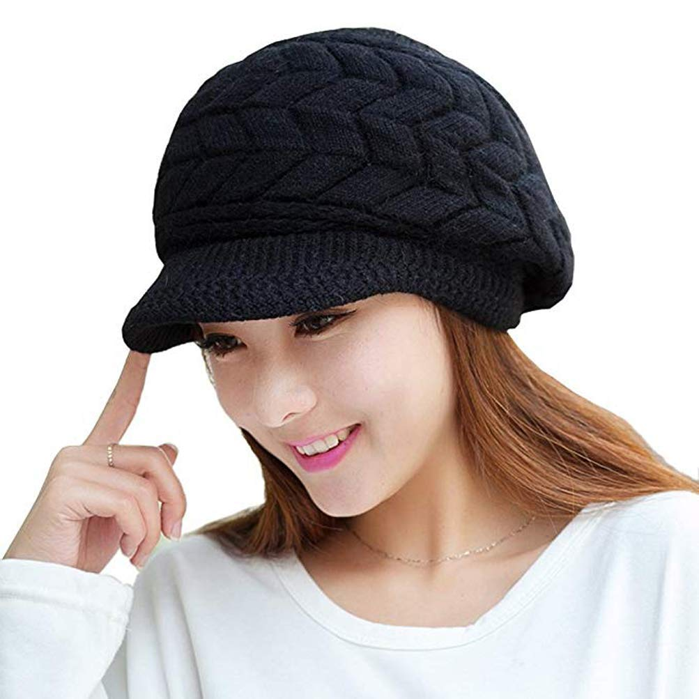 ANEMEL Women Hat Winter Warm Beret Knit Wool Caps with Visor/01-Black