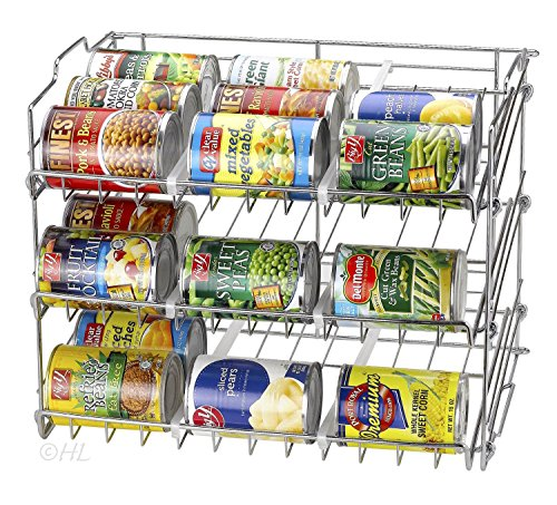 Handy Laundry Stackable Can Organizer, Can Rack Holds up to 36 Cans, Chrome Finish