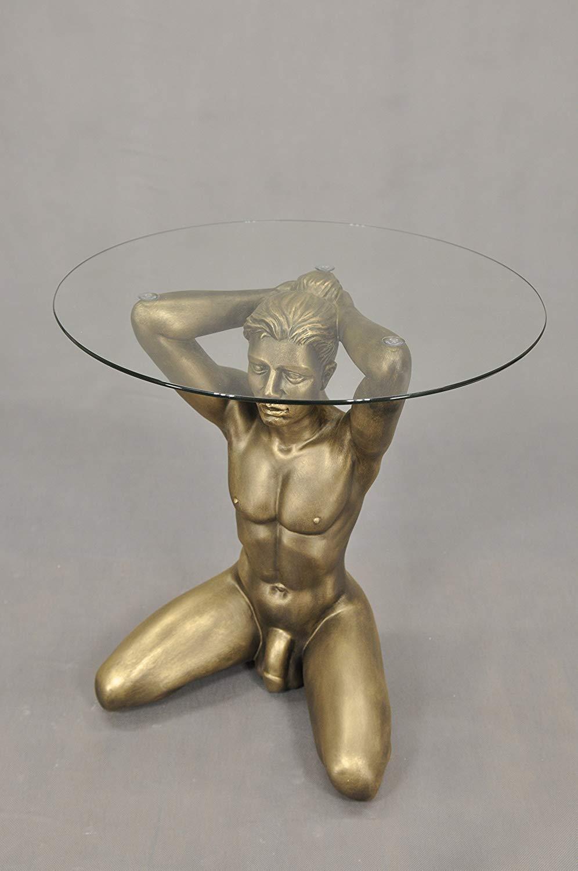 KARO FLIGHT Oro brillante uomo nudo tavolino da salotto dipinto a mano Medusa erotica in vetro