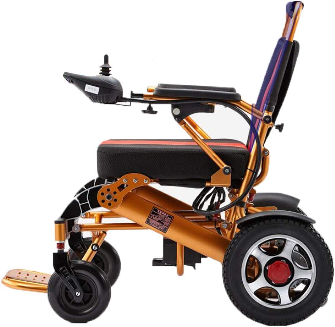BYCDD Plegable Silla de Ruedas, Silla de Ruedas Plegable Ligera Portátil Potencia del Motor para sillas de Ruedas Eléctrica Power Chair Transportar,Gold