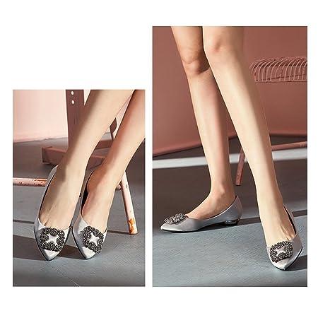 YQQ Zapatos De Boda Zapatos De Novia Zapatos Femeninos Sandalias De Verano Tacones Bajos Zapatos Planos, Pala Retro Salvaje Diamante De Imitación Acogedor ...