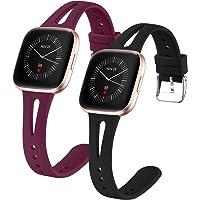 Dirrelo 2 stuks armband, compatibel met Fitbit Versa Strap/Fitbit Versa 2 Strap/Fitbit Versa Lite Strap, slank, smal…