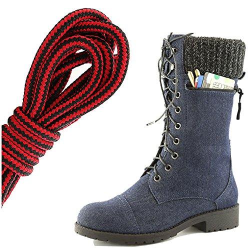 Dailyshoes Womens Combat Stijl Lace Up Enkellaarsje Ronde Neus Militaire Knit Creditcard Mes Geld Portemonnee Pocket Laarzen, Zwart Rood Blauw Denim