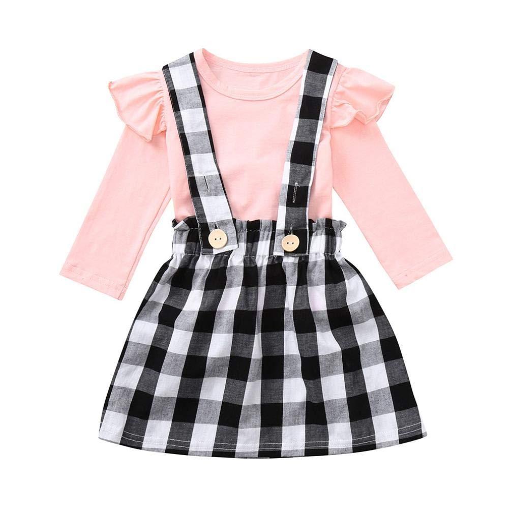 Kinlene Toddler Baby Girls Lattice Strap Skirt + T-Shirt manica lunga increspata Set abiti