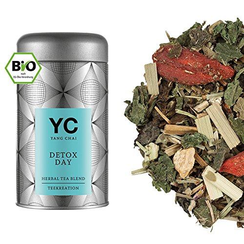 Yang Chai Detox Tee Mischung 'DETOX - DAY' auf Mate und Grüntee Basis mit Goji, Brennnessel, Eibischkraut, Storchenschnabel, Schachtelhalmkraut und Minze, aus kontrolliert biologischem Anbau, 70g, Metalldose