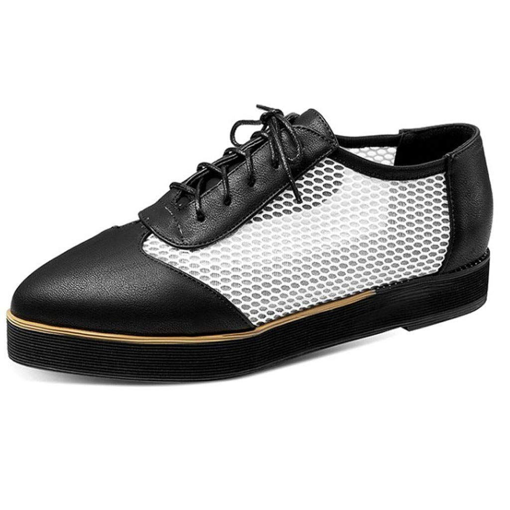 Womens Platform Wedge Sneakers Wingtip Leather Flat Oxfords Lace-Up Driving Loafers Hollow Out Comforty Shoes (US:7.5(39), Black) by Dasuy