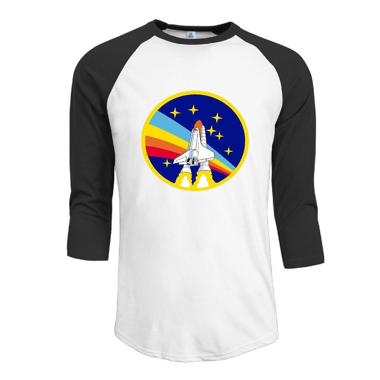 CACA Men's NASA National Aeronautics Logo 3/4 Sleeve Baseball Tshirts