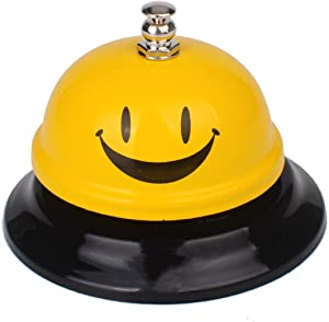 Ring Service Call Bell Stainless Steel Desktop Call Bell for Restaurant Concierge Hotel (Smile)