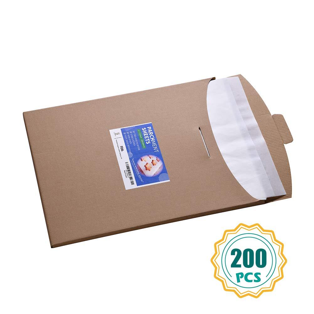 Parchment Paper Sheets-200 Count, 12x16 inch Parchment Baking Paper Fit for Half Sheet Baking Pan by katbite