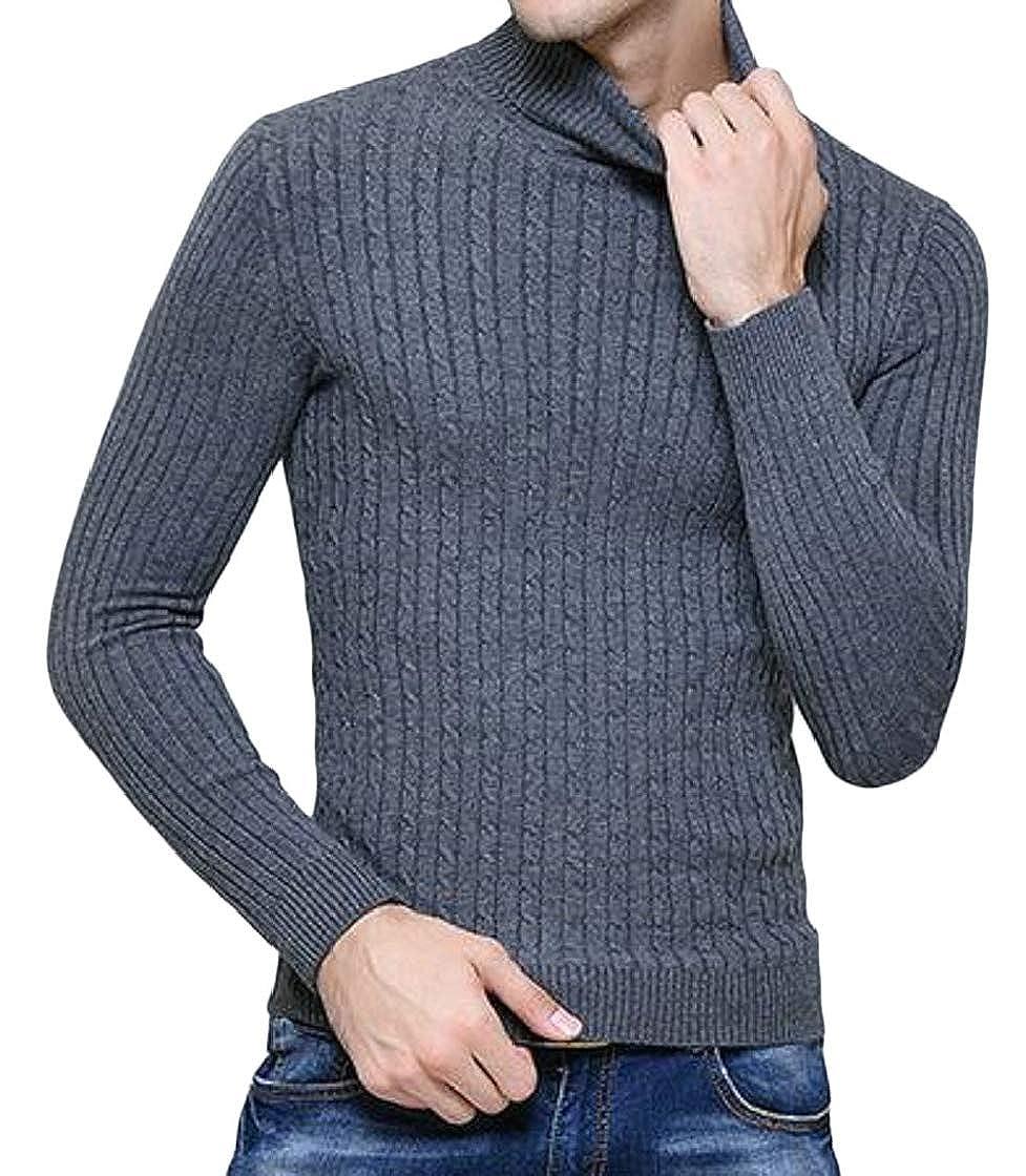 Etecredpow Men Knitwear Slim Fit Pullover Turtleneck Jacquard Pure Color Sweaters