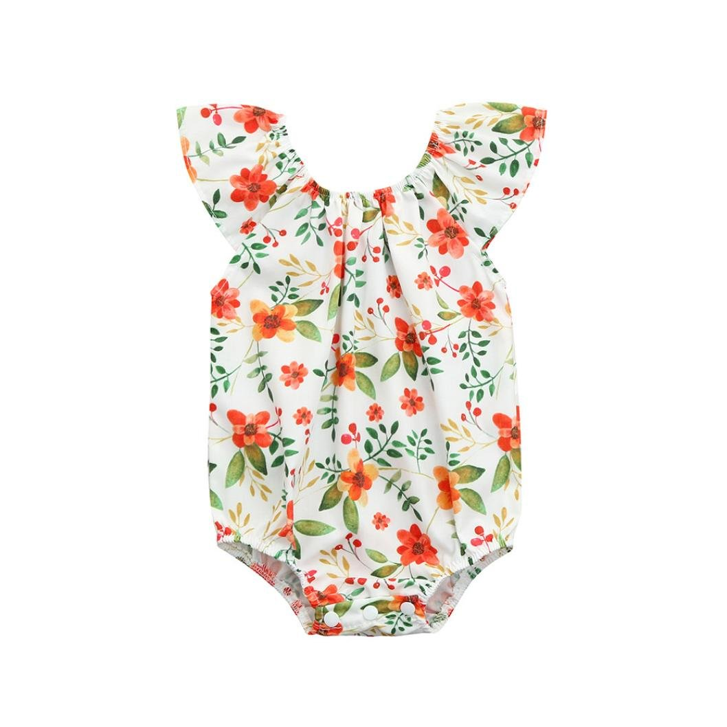 Baby Clothes for 0-3 Years Old, Hevoiok Newborn Infant Toddler Baby Girls Romper Cute Sweet Floral Print O Neck Sleeveless Jumpsuit