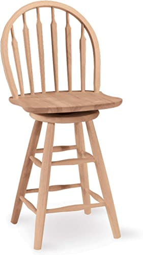 International Concepts 24-Inch Arrow Back Wind Stool, Unfinished