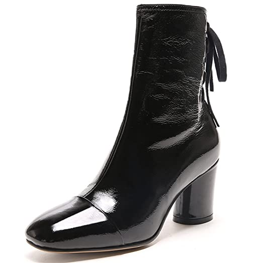 Patent Leather Women's Square Toe Chunky Heel Lace Up Mid Calf Handmade Dress Boots