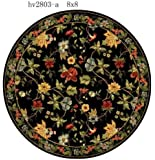 Safavieh Chelsea Collection HK311A Hand-Hooked Black Premium Wool Round Area Rug (3' Diameter)