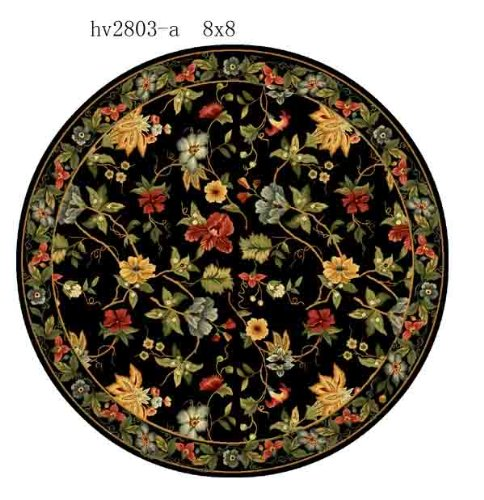 Safavieh Chelsea Collection HK311A Hand-Hooked Black Premium Wool Round Area Rug (3' Diameter) 3' Hand Hooked Wool Rug
