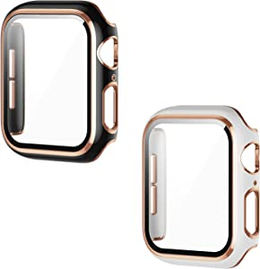 [2 Pack] AISIBY Compatible with Apple Watch Series 3/2/1 42mm Case with Tempered Glass Screen Protector Full Coverage HD Ultra-Thin Unbreakable Cover Compatible with iWatch 42mm(Black/White Bumper)