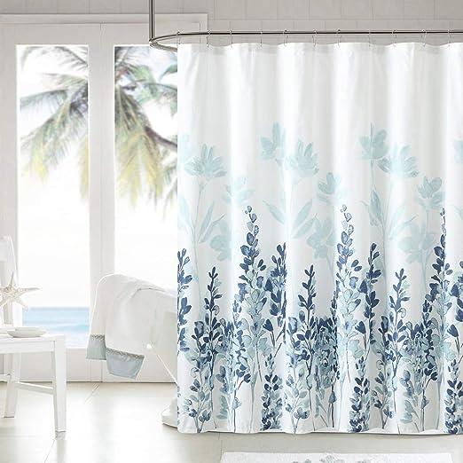 Color Flower Waterproof Bathroom Polyester Shower Curtain Liner Water Resistant