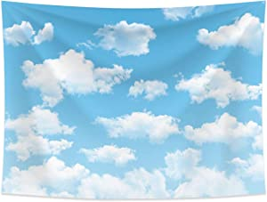 Allenjoy 8x6ft Fabric Blue Sky White Cloud Backdrop for Newborn Spring Portrait Photography Pictures Kids Children World Travel Aviator Birthday Party Decor Welcome Baby Shower Photo Shoot Background