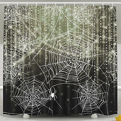 Anti Bacterial Waterproof Polyester Shower Curtain Spider Halloween Web Resistant Shower Curtain 60 X (Halloween Webs Clipart)