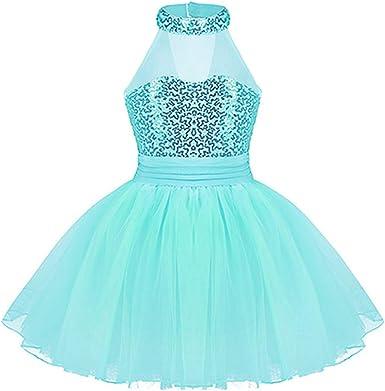 Girls Child Mesh Splice Ballet Dance Leotard Dress Gymnastics Dancewear Costume