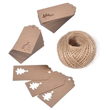 KINGLAKE 100 PCS Kraft Paper Hollow Christmas Tree Gift Tags With String Blank Tag Vintage