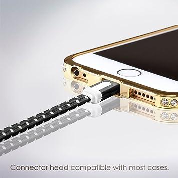 Cable Lightning para Apple iPhone 6s/6/5, iPad, iPod - 2m, Negro, Plano - Cordon Cargador de Carga y Sincronización de datos - USB Syncwire de ...