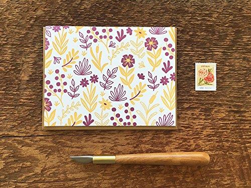 Flora Pattern, Letterpress Note Card, Blank Inside