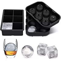 SPLIT PEAS Block & Balls Silicone Ice Cube Trays + Funnel | Set of 2 Square & Round Molds | Large Ice Cube Squares…