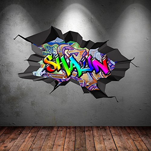 Multi Full Colour Personalized D Graffiti Name Cracked Wall Art Stickers Decal Mural