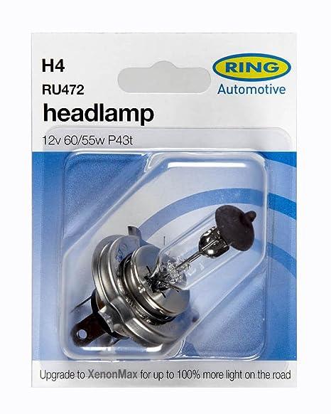 2 x Ring H4 472 Halogen Car Headlight Headlamp Bulb 12v 60//55w P43T