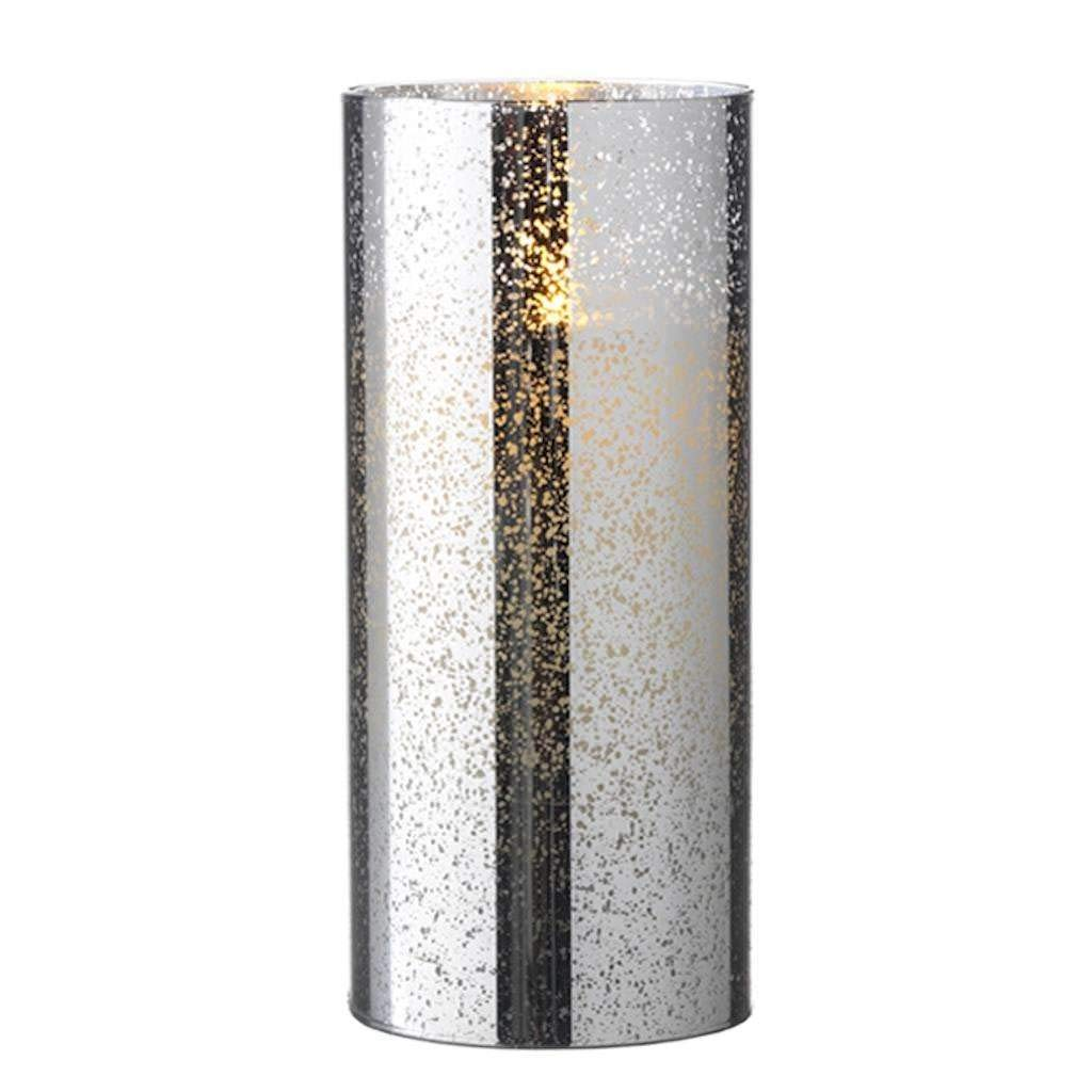 Liown 19753 - 8'' Silver/Mercury Glass Wax LED Pillar Candle with Timer