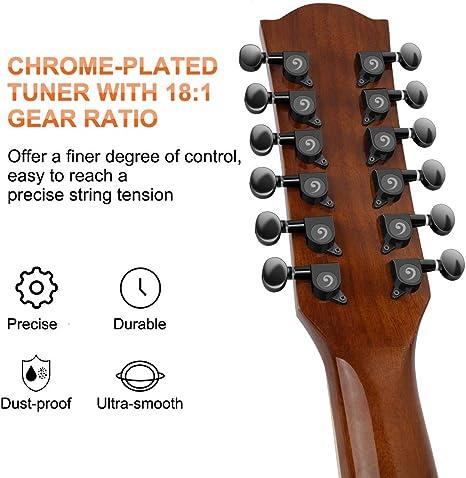 Vangoa 12 String Guitar Sapele Body Acoustic-electric Dreadnought Cutaway Guitar Bundle Natural Gloss VA21CE NT12