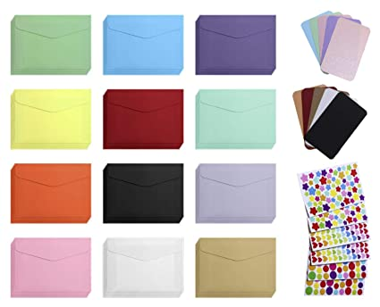 Mini Envelope with Cards 60Pcs Color Mini Gift Card Envelope 60Pcs Business  Blank Color Mini Notes Cards with 6Pcs Color Heart Dot Star Stickers for