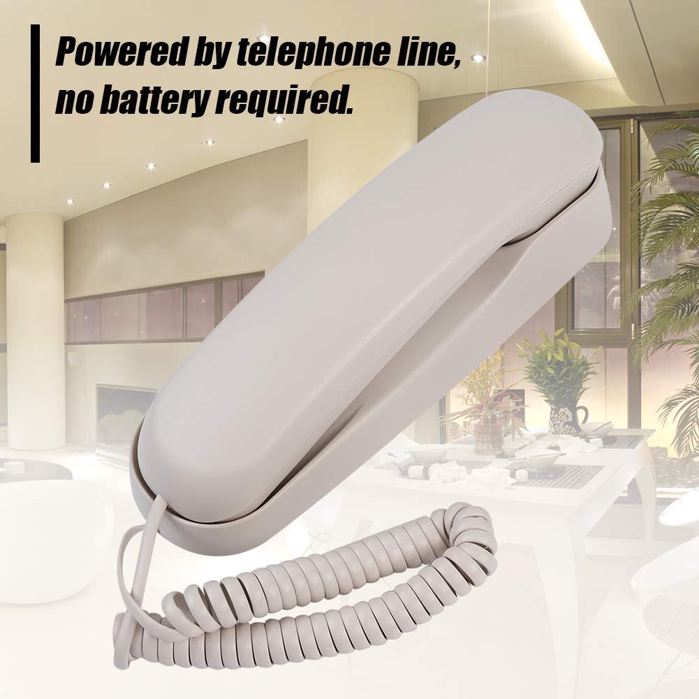 ASHATA Mini Tel/éfono on Cable,Tel/éfono Fijo de Sobremesa//Pared con Base Antideslizante para Oficina,Casa,Hotel,etc.(Blanco)