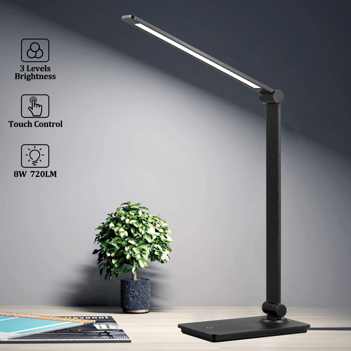 LED Desk Lamp, Touch Control Desk Lamp with 3 Levels Brightness, Dimmable Office Lamp with Adjustable Arm, Foldable Table Desk Lamp for Table Bedroom Bedside Office Study, 5000K, 8W, Black
