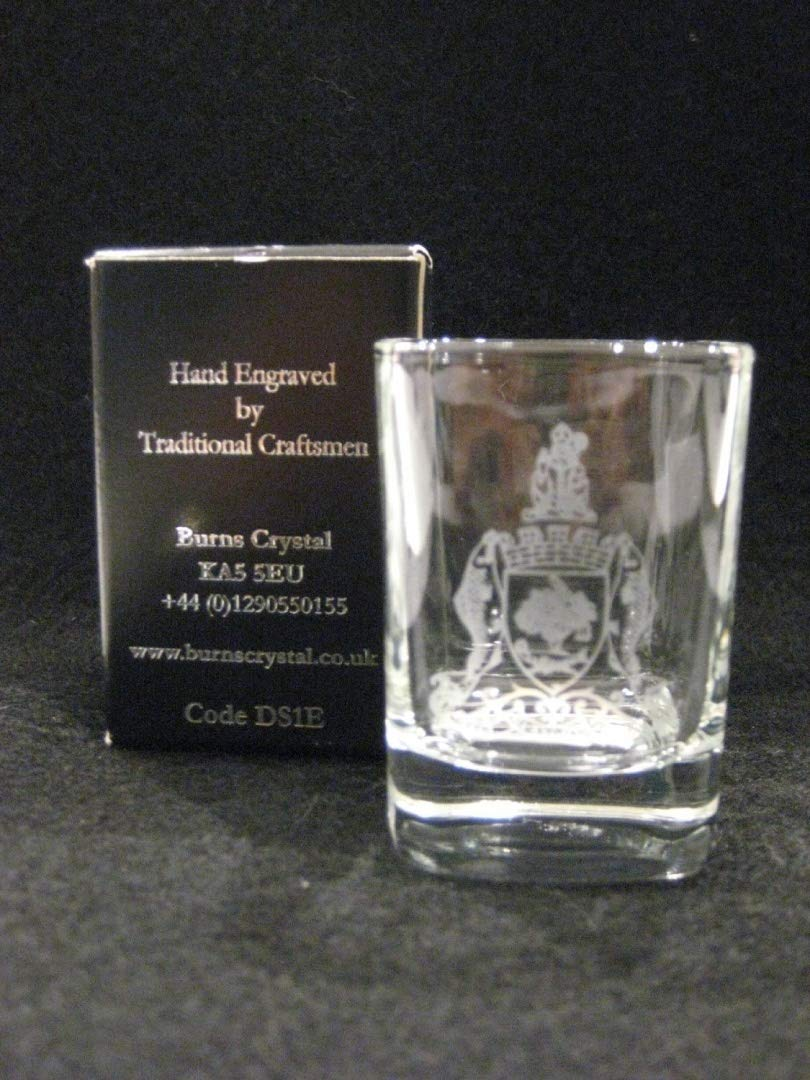 Burns Crystal Whisky Dram/Shot Glass Engraved with Glasgow Coat of Arms - Limited Edition for Commonwealth Games 2014