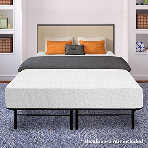 Best Price Mattress 12' Memory Foam Mattress and 14' Premium Steel Bed Frame/Foundation Set, Queen