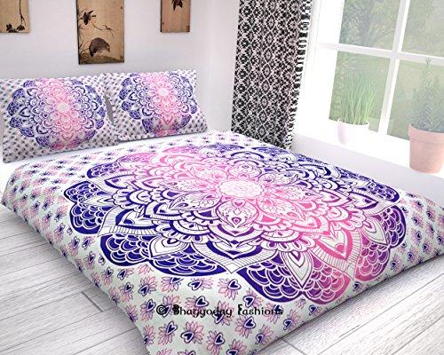 Bhagyoday Fashions TM - housse de couette reversible à suspension murale Ombre Mandale, couverture de confort de literie bohème, Doona 223,5x 203,2cm environ