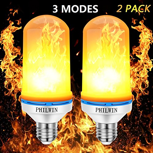 Flame Bulb,PHILWIN E26 Flickering Flame Light Bulbs 99pcs 2835 LED Beads 1900K-2000K 100LM 3 in 1 Modes Atmosphere Lighting Decorative Light for Home,Party,Bar,Christmas Decor (2-PACK) (Bar Decorative)