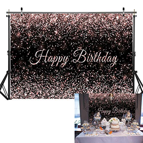 Haboke 7x5ft Durable Fabric Happy Birthday Backdrop Pink and Black Shiny Gold dot Glamour Sparkle Sweet Photography Background for Kids Adults Birthday Party Decorations Supplies Photo Studio Props
